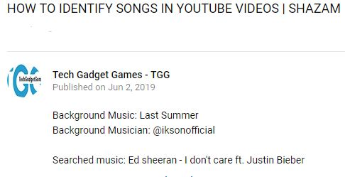 HOW TO IDENTIFY SONGS IN YOUTUBE VIDEOS?